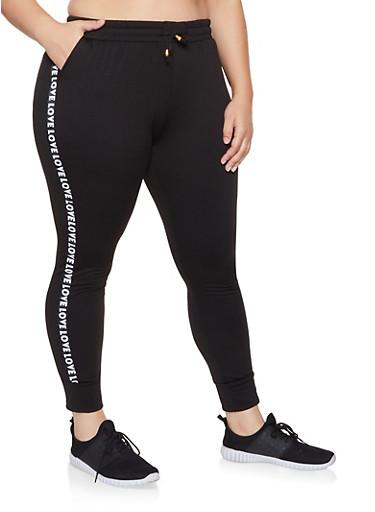 Plus Size Fleece Lined Athletic Joggers,BLACK,large