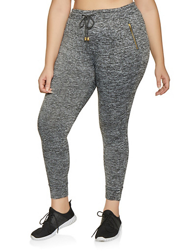 Plus Size Fleece Lined Activewear Joggers,GRAY,large