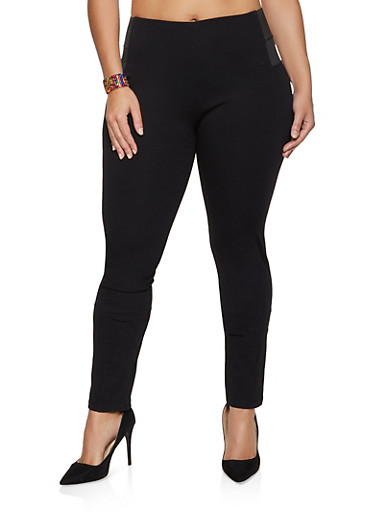 Plus Size High Waisted Dress Pants,BLACK,large