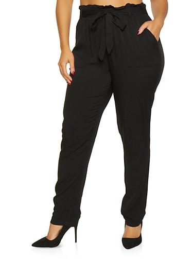 Plus Size Tie Front Paper Bag Waist Pants,BLACK,large