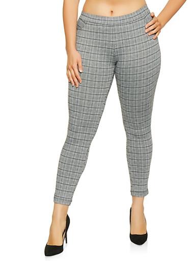 Plus Size Pull On Plaid Pants,BLACK,large