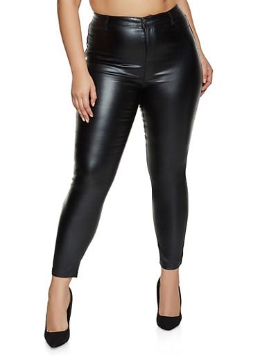 Plus Size Coated Jeggings,BLACK,large