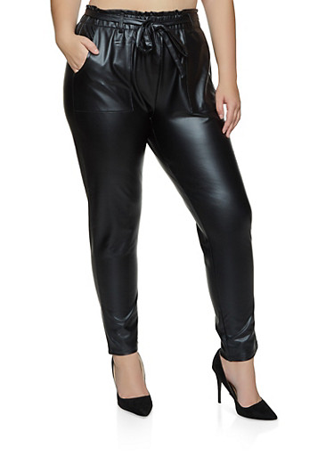Plus Size Paper Bag Waist Faux Leather Pants,BLACK,large