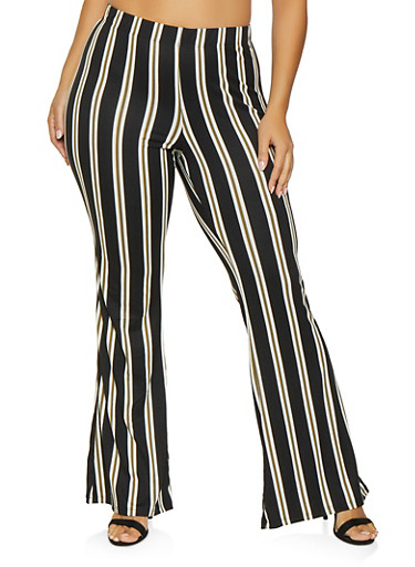 Plus Size Striped Flared Pants,OLIVE,large