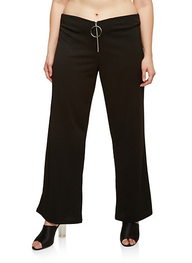 Plus Size Zip Front Palazzo Pants at Rainbow Shops in Jacksonville, FL | Tuggl