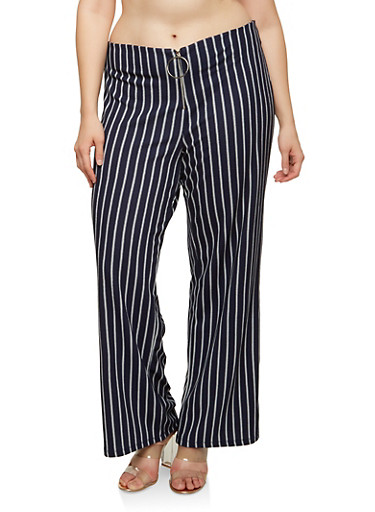 Plus Size Striped Zip Palazzo Pants,NAVY,large