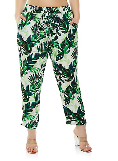 Plus Size Crepe Knit Tropical Print Pants,GREEN,large