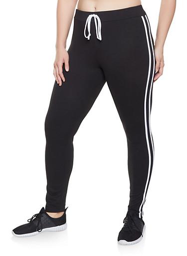 Plus Size Varsity Stripe Faux Drawstring Leggings,BLACK/WHITE,large