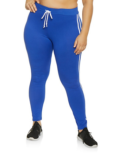 Plus Size Varsity Stripe Leggings,RYL BLUE,large