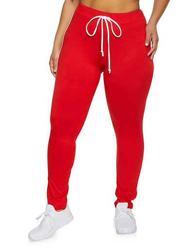 Plus Size Varsity Stripe Leggings,RED,large