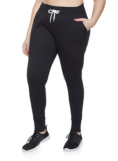Plus Size French Terry Lined Joggers,BLACK,large