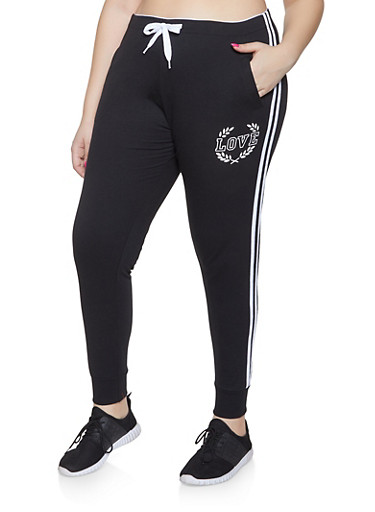 Plus Size Love Graphic Varsity Stripe Joggers,BLACK,large