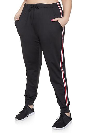 Plus Size Striped Tape Trim Sweatpants,BLACK,large