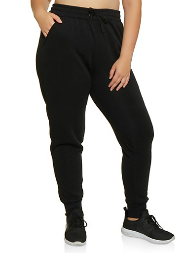 Plus Size Solid Fleece Lined Joggers,BLACK,large