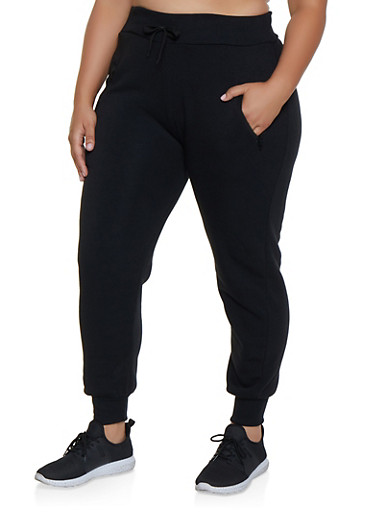 Plus Size Fleece Lined Joggers | 1928072291388,BLACK,large