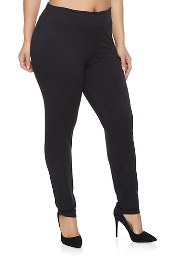 Plus Size Soft Knit Basic Leggings,BLACK,large