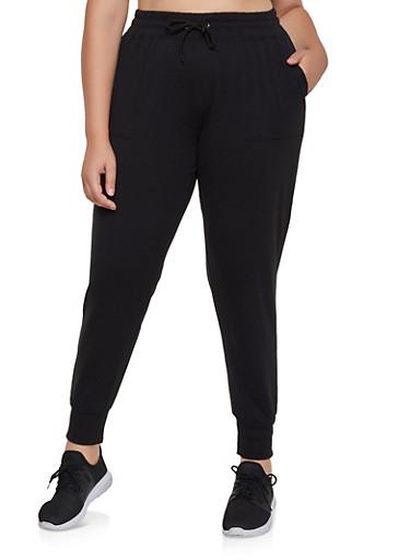 Plus Size 2 Pocket Joggers,BLACK,large