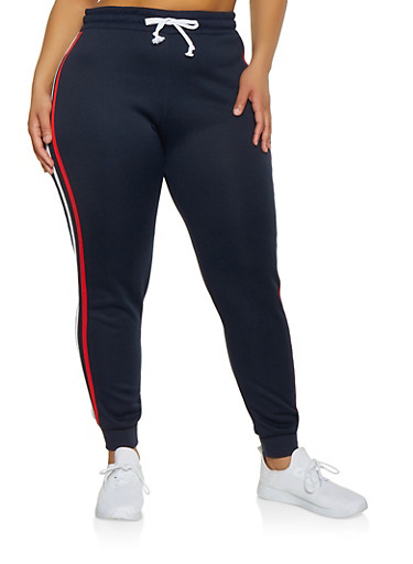 Plus Size Varsity Stripe Joggers,NAVY,large