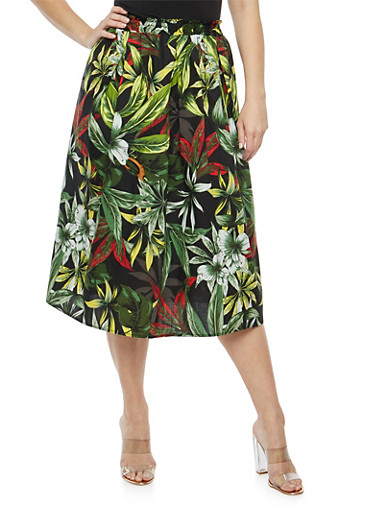 Plus Size Tropical Floral Skater Skirt,GREEN,large