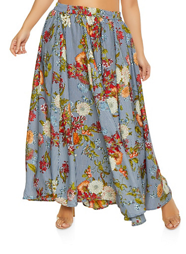 Plus Size Floral Striped Maxi Skirt,NAVY,large