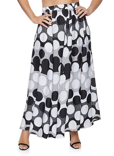 Plus Size Polka Dot Maxi Skater Skirt,BLACK/WHITE,large