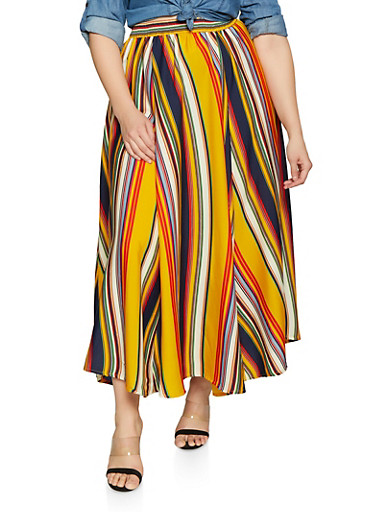 Plus Size Striped Maxi Skirt,MUSTARD,large