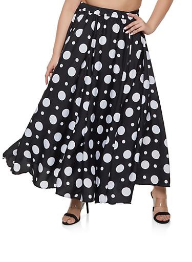 Plus Size Polka Dot Maxi Skater Skirt,BLACK,large