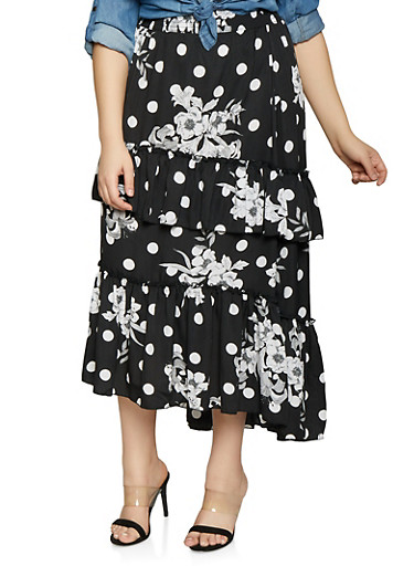 Plus Size Printed Tiered Maxi Skirt,BLACK,large