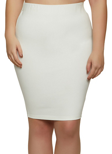 Plus Size Ponte Skirt,IVORY,large
