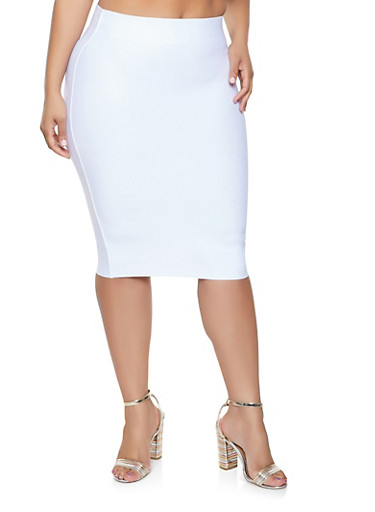 Plus Size Bandage Skirt,WHITE,large
