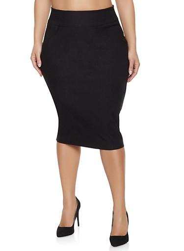 Plus Size Stretch Pencil Skirt,BLACK,large
