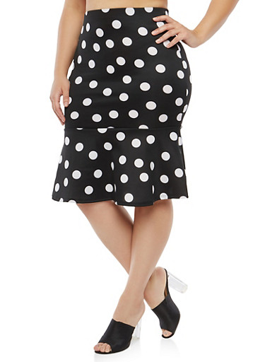 Plus Size Polka Dot Skirt with Flounce Hem,BLACK/WHITE,large