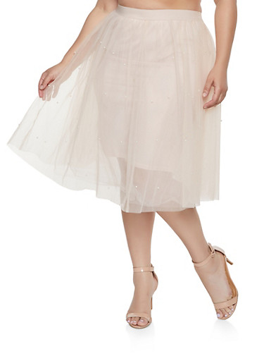 Plus Size Faux Pearl Studded Tulle Skirt,BLUSH,large