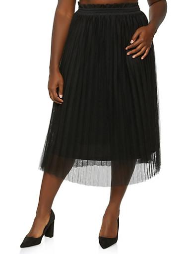 Plus Size Pleated Tulle Skirt,BLACK,large