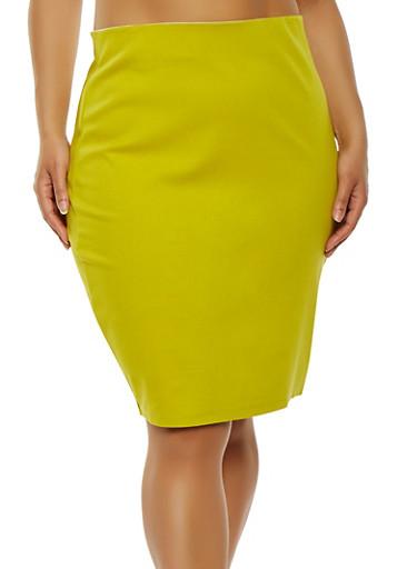 Plus Size Ponte Pencil Skirt,CITRUS,large