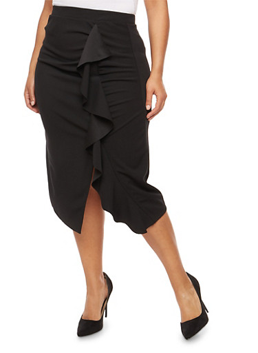 Plus Size Ruffle Front Midi Skirt,BLACK,large