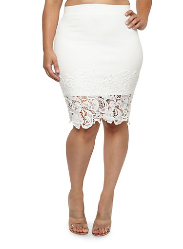 Plus Size Crochet Trim Midi Skirt | Tuggl