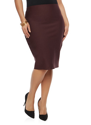 Plus Size Bandage Skirt,PLUM,large