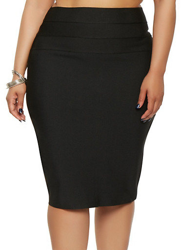 Plus Size Bandage Pencil Skirt,BLACK,large