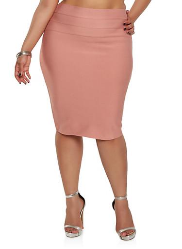 Plus Size Bandage Pencil Skirt,ROSE,large