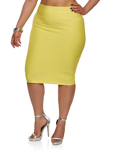 Plus Size Bandage Pencil Skirt,YELLOW,large