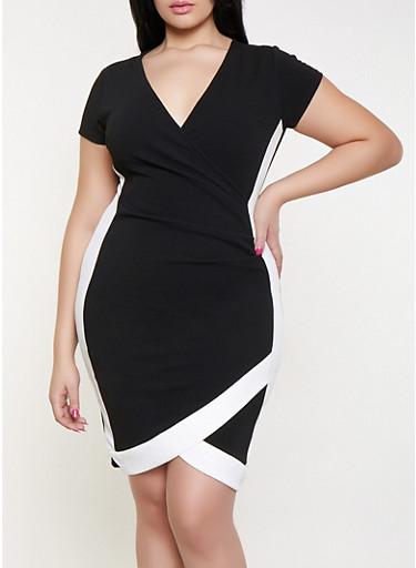 Plus Size Contrast Trim Faux Wrap Dress,BLACK/WHITE,large