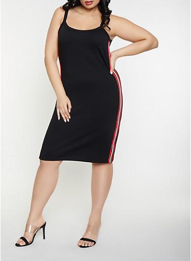 Plus Size Striped Tape Bodycon Dress,BLACK,large