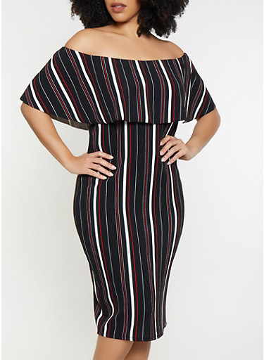 Plus Size Striped Off the Shoulder Dress,RED,large