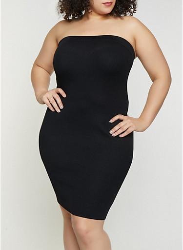 Plus Size Solid Ribbed Knit Tube Dress,BLACK,large