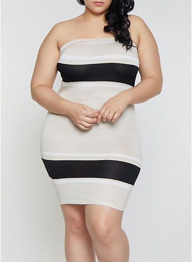 Plus Size Color Block Tube Dress,BEIGE,large