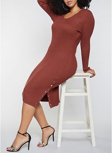 Plus Size Side Snap Midi Dress,BROWN,large