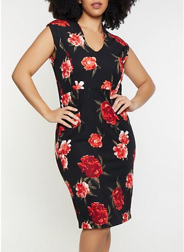 Plus Size Floral Sheath Dress,BLACK,large