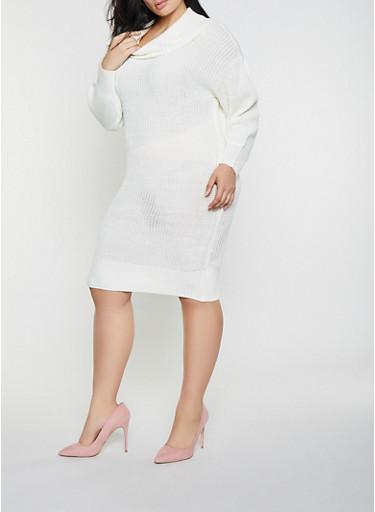 Plus Size Cowl Neck Sweater Dress,IVORY,large