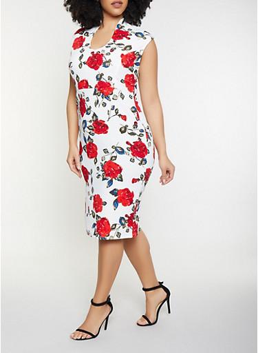 Plus Size Floral Zip Back Bodycon Dress,IVORY,large